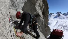 Rock climbing in the wonderful granite peaks of the south face of Mont Blanc Stock Footage