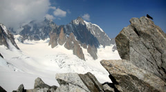 Mont Blanc, Alps, France - panorama on est face of Mont Blanc - HD1080P Stock Footage