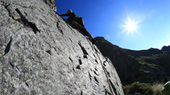 Rock climbing in a wonderful granite wall. Piemonte, Italy, Europe. Stock Footage