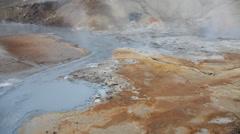 Mud pots and hot springs in Seltun geothermal area, Krysuvik, Reykjanes Stock Footage