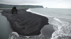 Dyrholaey, a black volcanic beach on the south coast of Iceland, Europe. Stock Footage