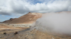 Steam from geothermal vents. Myvatn, Hverarsnd, Iceland - stock footage