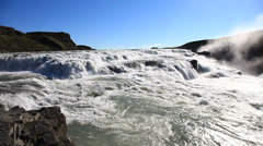 Gullfoss, the famous icelandic waterfall, part of the Golden Circle. Summer Stock Footage