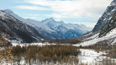Snowed mountain valley: Mont Blanc massif, Italy - Time Lapse HD1080P Stock Footage