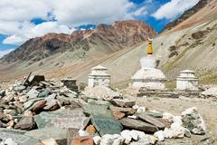 Stock Photo of tibetan stupas and mani stones