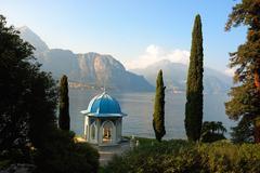 Stock Photo of garden of italian villa on como lake, italy.