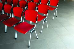 Conference room with red seats Stock Photos