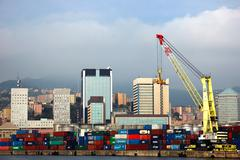 Stock Photo of container crane at dock