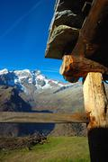 Stock Photo of south side of monte rosa massif, from an alpine farm, west alps, italy.