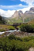 mountain valley, summer season, val veny, mont blanc; italy. - stock photo