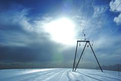 ski-lift slope - stock photo