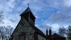 Tudor Church in storm in England time lapse. 4K version Stock Footage