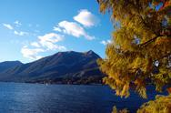 Stock Photo of lake landscape in fall season, como lake