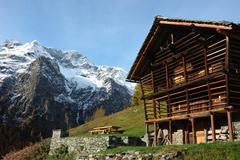 "Stock Photo of tipical ""walser"" house of an ancient mountain village; west alps, italy"