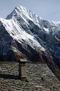 """Stock Photo of tipical """"walser"""" house of an ancient mountain village; west alps, italy"""