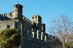 Stock Photo of exterior view of medieval castle, north italy
