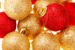 close up of decorated christmas tree balls - stock photo