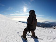 child skiing - stock photo