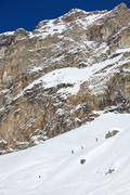 Stock Photo of backcountry skiing