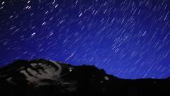 4K Startrails Mt Shasta  02 Persieds Meteror Shower Timelapse Pan and Tilt up R Stock Footage
