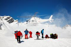 Stock Photo of heli-skiing