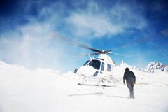 Stock Photo of heli-skiing