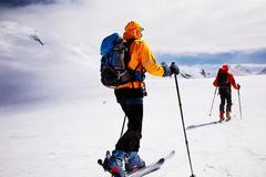 Stock Photo of alpine touring skiers