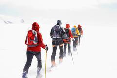 Group touring skiers Stock Photos