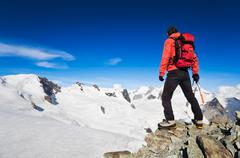 high altitude hiking - stock photo