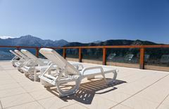 sun beds - stock photo
