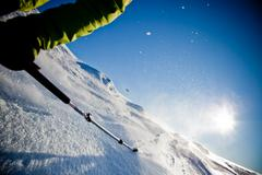 Freeride skiing Stock Photos