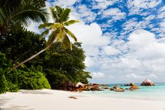 Stock Photo of a gorgeous tropical beach, seychelles