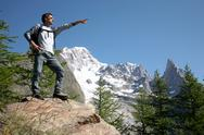 Stock Photo of hiker pointing