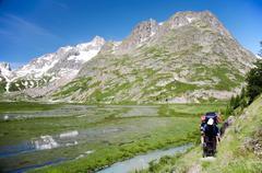 mountain trekker - stock photo