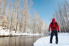 winter hiking - stock photo