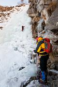 Stock Photo of ice climbing
