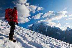 mountaineer alone glacier - stock photo