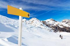 mountain guidepost - stock photo