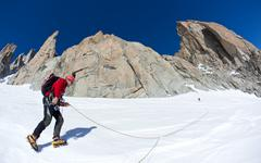 Stock Photo of climbing in mont blanc, alps.