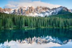 Stock Photo of karersee, lake in the dolomites in south tyrol, italy.
