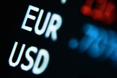 Exchange rates for usd / euro currencies Stock Photos