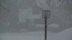 Heavy snowfall lamppost Stock Footage