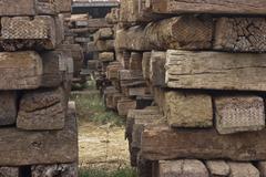 old wooden sleeper - stock photo