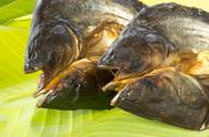 Dry fish on  fresh banana leaf Stock Photos