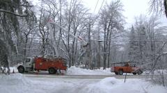 Ice storm power company Stock Footage