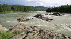 Thresholds mountain river katun. altai krai. russia. Stock Footage