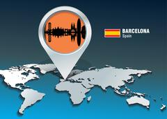 map pin with barcelona skyline - stock illustration