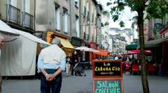 Shops on Rue Vasselot - Rennes, France Stock Footage