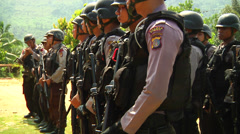 Poso Police in the jungle Stock Footage