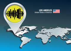 Map pin with los angeles skyline Stock Illustration